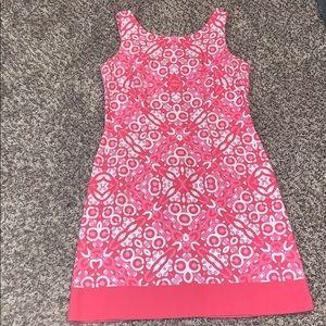 Three shades of pink and white sleeveless dress.